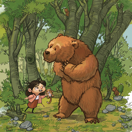 Illustration of a little girl and a bear.
