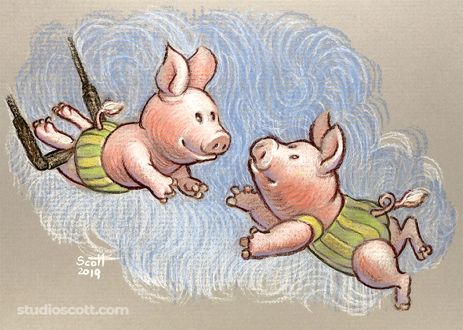 Illustration of two pigs on a trapeze.