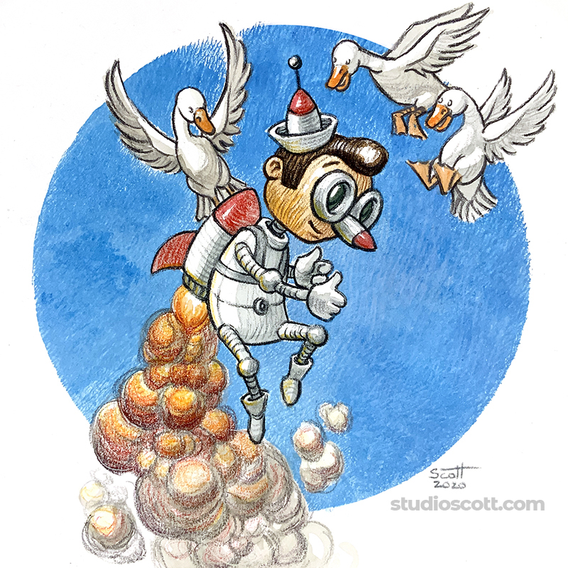 Illustration of Pinocchio wearing a jetpack.