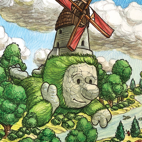 Illustration of a giant with a windmill on its head.