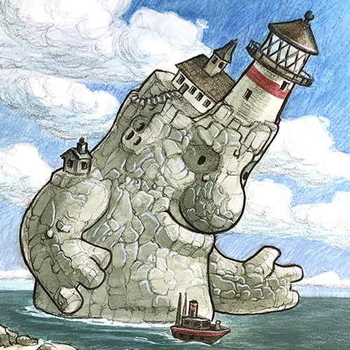 Illustration of a giant with a lighthouse on its head.