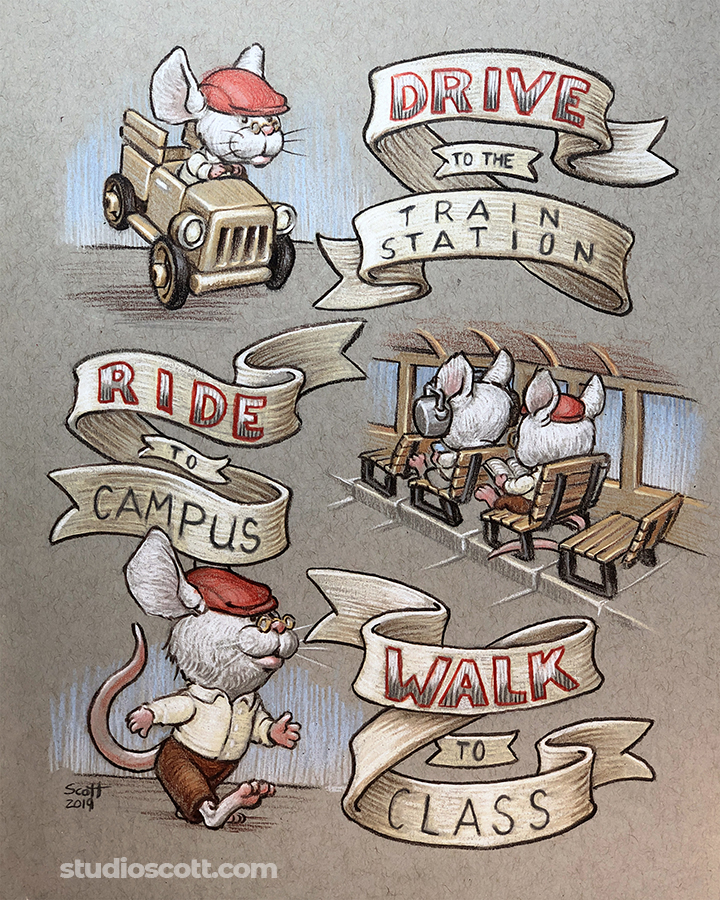 Illustration of a mouse going to work by driving a car, riding a train and walking.