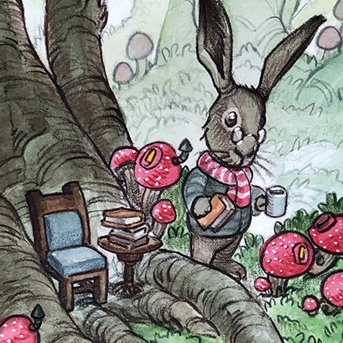 Illustration of a bunny carrying a book and a mug of cocoa in the forest.