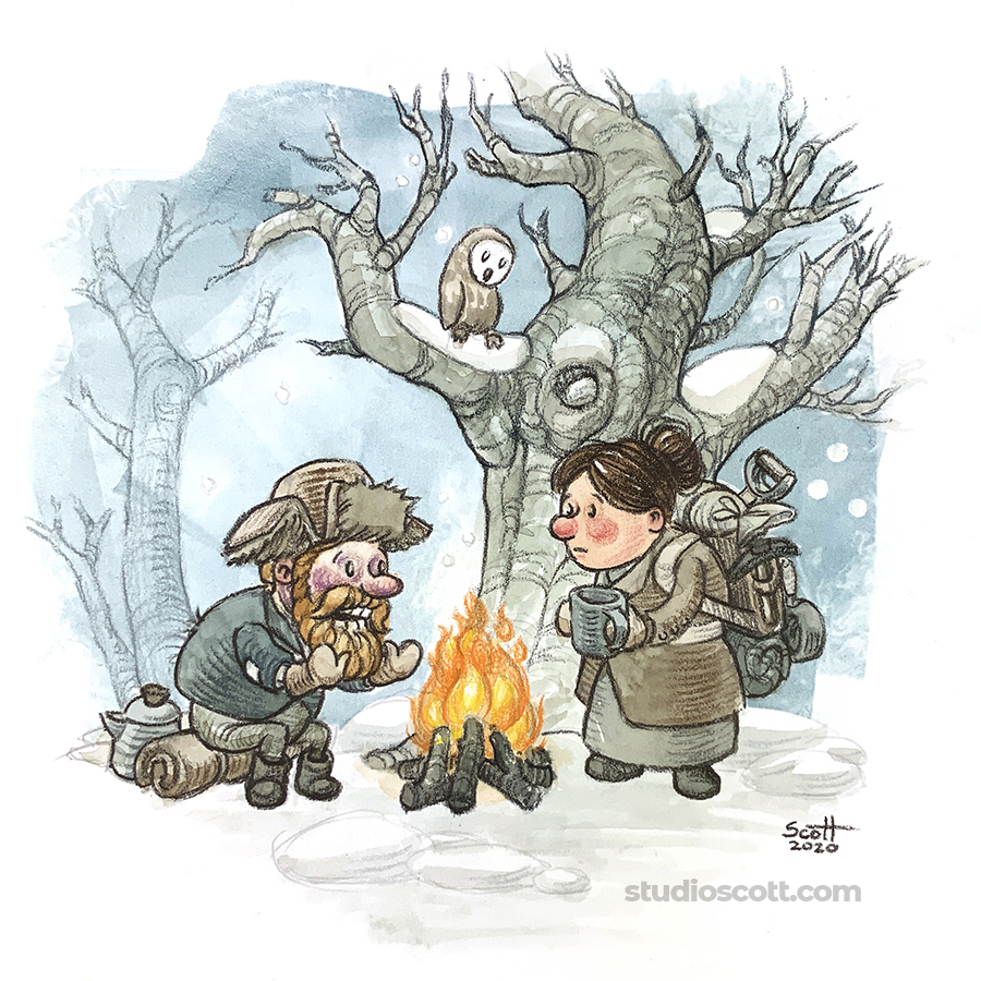 Illustration of two people talking around a campfire.