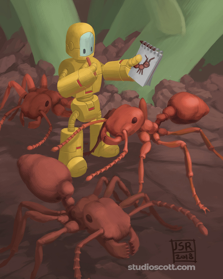 Illustration of a robot with a sketchbook and three very large ants.