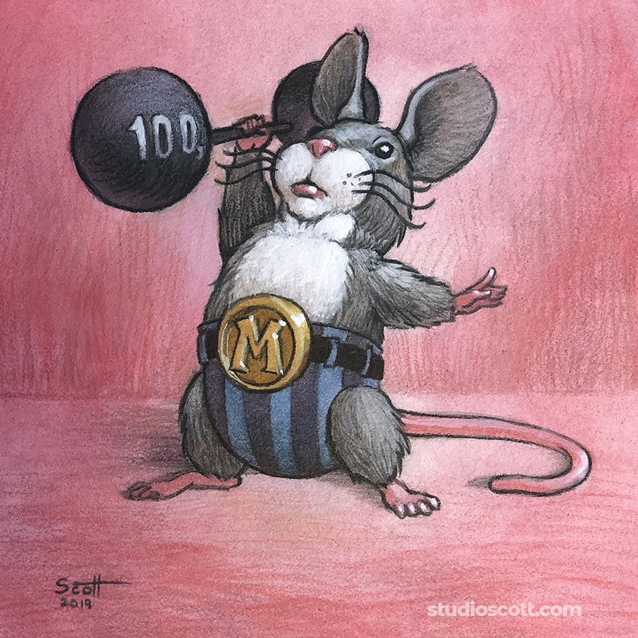 Illustration of a mouse lifting a barbell.
