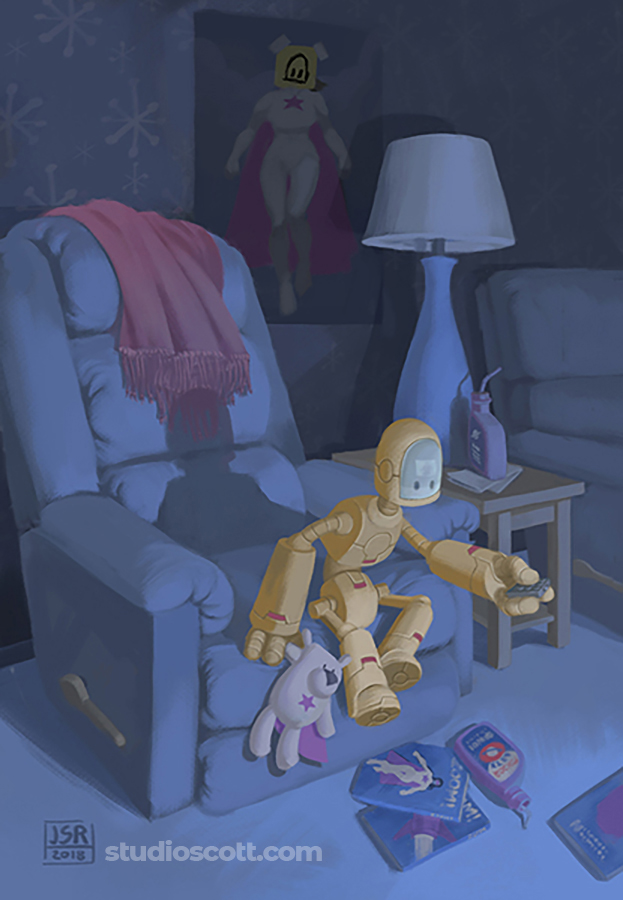 Illustration of a robot holding a remote control and staring at a TV off screen.