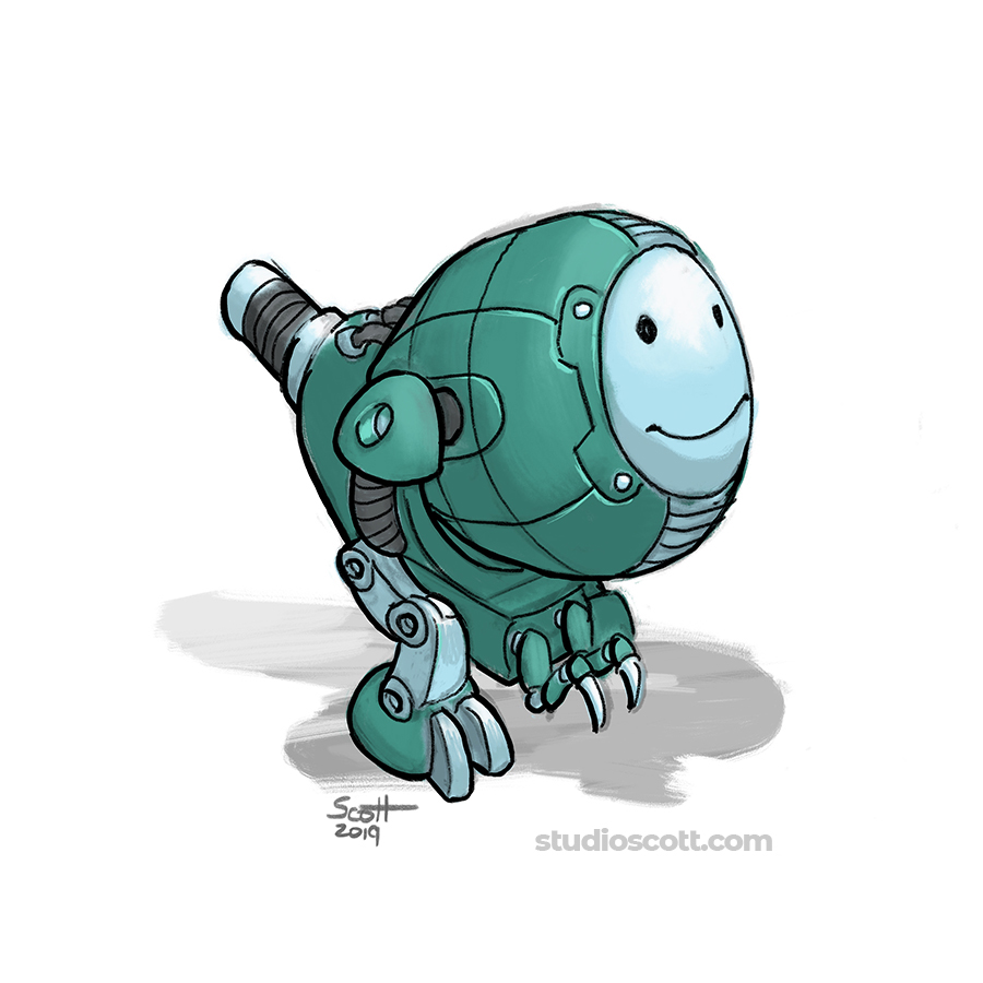 Illustration of a small smiling robot.