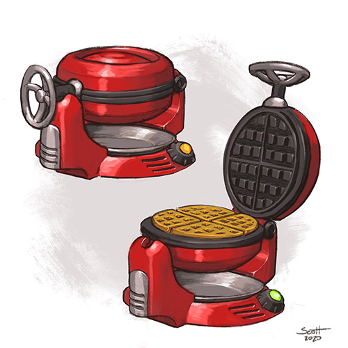 Two illustrations of a wafflemaker.
