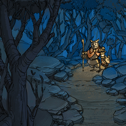 Illustration of two adventurers holding a lantern in a dark forest.