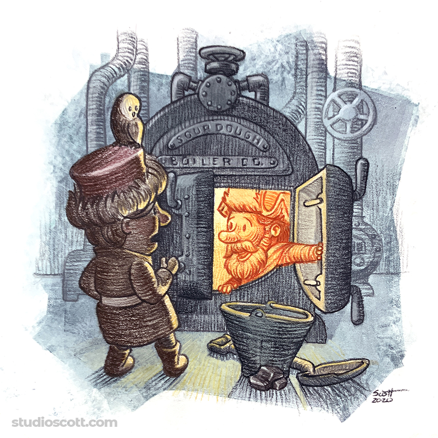 Illustration of two people and and antique boiler.