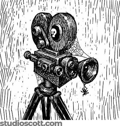 Illustration of an old-fashioned movie camera on a tripod. Spiderwebs drape the camera and a spider dangles from the lens.