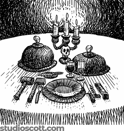 Illustration of a table setting with covered dishes and a candelabra. Instead of ordinary untentils, the setting includes a mallet, a hatchet, a butcher knife, a corkscrew and a railroad spike.