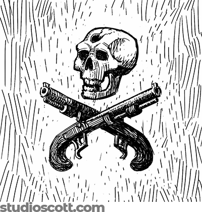An illustration of a skull above two crossed duealling pistols. The skull has a bullet hole in its forhead.