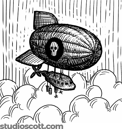 Illustration of an airship floating above the clouds. A skull emblem is painted on the side of the balloon.