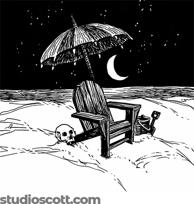 Illustration of a wooden Adirondack chair on the beach in the middle of the night. A skull and a bucket sit on the ground next to the chair. An open umbrella shades the chair from above.