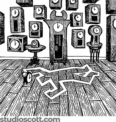 Illustration of a murder scene in a clock shop. White tape marks where the body was found. Several clocks are on the wall. An alarm clock sits on the floor next to the tape.
