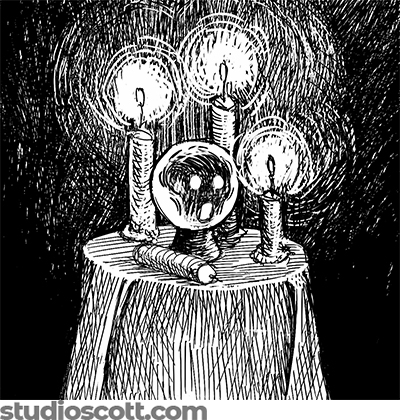 A crystal ball on a small round table. Three lit candles and one fallen, unlit candle surround the ball. Inside the ball is a ghostly face.