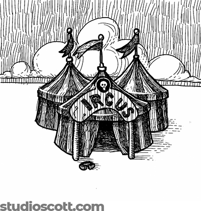"""Illustration of three circus tents. A sign that should say """"Circus"""" stands in front, but the letter C has fallen on the ground. There's a skull emblem on the sign, just above the letters."""