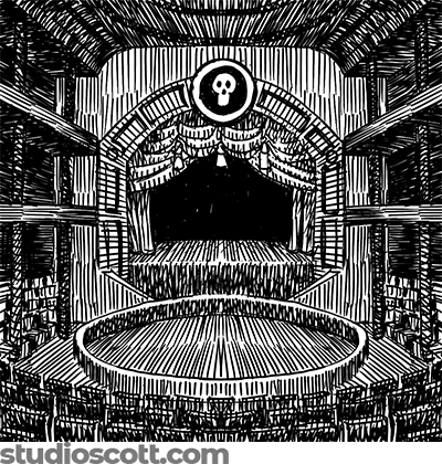 Illustration of an old-timey stage, seen from the back of the theatre. There's a skull emblem above the stage.