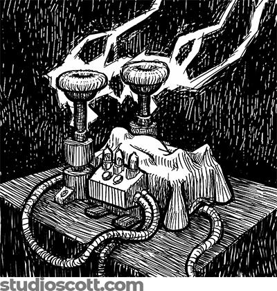 Illustration of a body covered with a white sheet. Steampunk machinery surrounds the body. Lightning strikes the machinery as sheets of rain fall around everything.