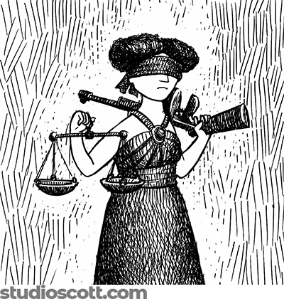 An illustration of a blindfolded Lady Justice. In one hand she holds a pair of scales. With the other hand she rests a Tommy gun on her shoulder.