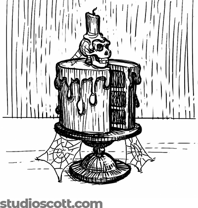 Illustration of a layered cake with one slice cut out of it. It sits on a cake stand. A skull with a candle on top sits on the cake. Spiderwebs cling to the skull, the cake and the table.