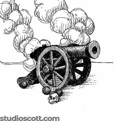 Illustration of a cannon. A few cannonballs and a skull sit on the ground in front of the cannon. Smoke rises in the background.