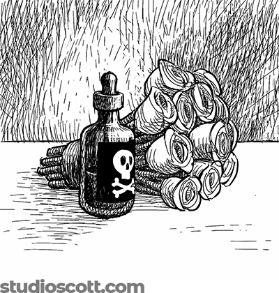 Illustration of a bouquet of roses and a bottle of poison. There is a skull and crossbones on the bottle.