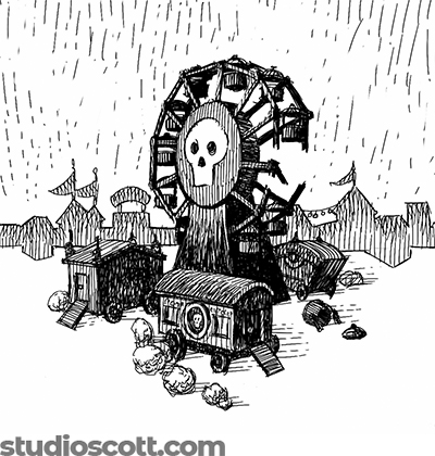 Illustration of a broken Ferris wheel. There's a skull image on the side, and three carnival wagons nearby.