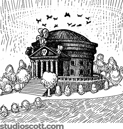 Illustration of a gloomy university building. There are columns in front, a skull frieze above the columns, and gargoyles on the roof. Vultures circle in the sky above.